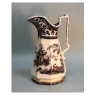 Antique Mulberry Ironstone Pitcher, Corean Pattern ca. 1855
