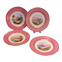 Four 19th Century Plates with Painted Scottish Scenes
