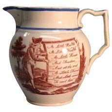 Pearlware Motto Pitcher ca. 1820