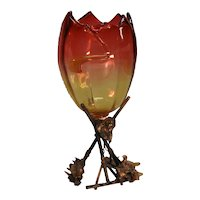 Victorian Amberina vase on Brass Stand