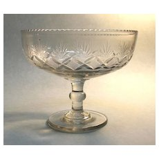 Large Pittsburgh Type Blown and Cut Compote ca. 1825-1840