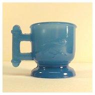 Atterbury Small Translucent Blue Glass Mug ca. 1885