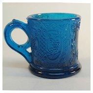 Blue Pressed Glass Child's Mug