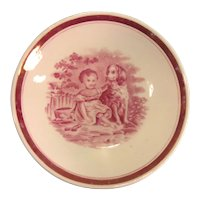 "Pink Luster Saucer ""Child with Dog"" ca. 1835-40"