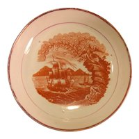 Pearlware Saucer with Patriotic Maritime Motif ca. 1820
