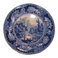 "Staffordshire Plate, ""Bamborough Castle"" Plate ca. 1835"