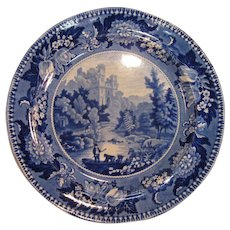"Staffordshire Plate, ""Bamborough Castle"" Plate ca. 1835"