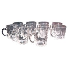 Ten Glass Punch Glasses with Applied Handles