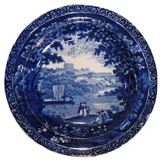 Clews Dark Blue Staffordshire Soup Plate ca. 1830