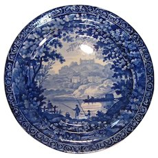 """Clews Staffordshire 10"""" """"Fisherman"""" Plate ca. 1830"""