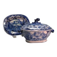 "Staffordshire ""Fisherman's Hut""  Sauce Tureen on Tray ca. 1830"