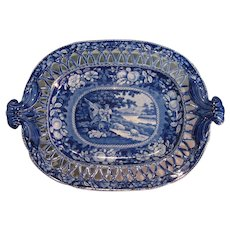 """Staffordshire """"Sheltered Peasants"""" Pierced Tray ca. 1830"""