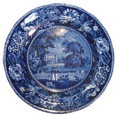 "Dark Blue Staffordshire Plate ""Llanarth Court"" ca. 1825"