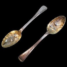 Pair English Sterling Berry Spoons 1854-56