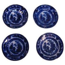Four Temple Flow Blue Saucers ca. 1850's