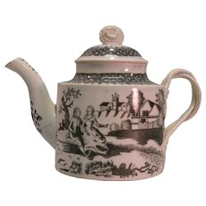 Pearlware Teapot with Transfer Printing ca. 1795