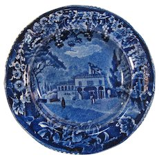 """Historical Staffordshire """"William Tell"""" Birthplace Plate ca 1825-30"""