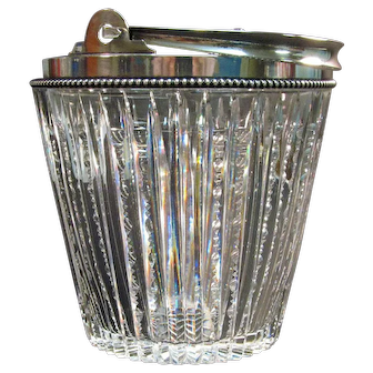 Cut Glass Ice Pail with Sterling Rim and Handle