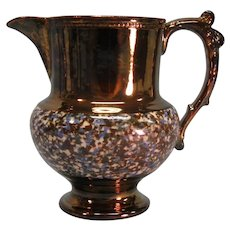 "Copper Luster Jug with ""Agate"" Band ca. 1840"