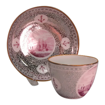 Cup and Saucer with Silver Resist and Maritime Motifs ca. 1815