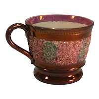 """Copper Luster Child's Mug with Pink and Green """"Gravel"""" ca. 1845"""
