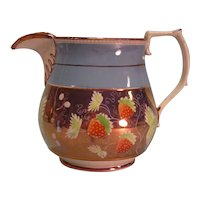 Pink Luster Pitcher with Strawberry Decoration ca. 1835