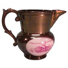 "Copper Luster Pitcher ""Little Jockey"" ca. 1840-50"