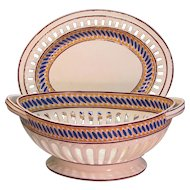 Large Spode Creamware Basket and Tray ca. 1815
