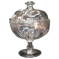 Pittsburgh Pillar-Mold Covered Compote ca. 1835-1870