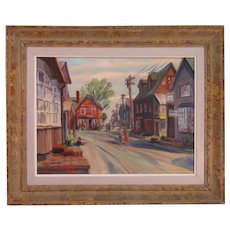 David Spurlin Oil Painting Village Streetscape