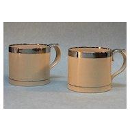 Pair  Silver Luster Trim Mugs ca. 1820-35