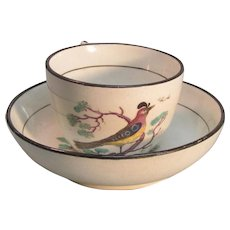 Pearlware Toy Cup and Saucer with Bird Decoration