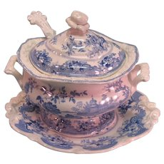Blue Transfer Sauce Tureen with Ladle ca. 1835-40