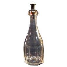 Flint Glass Bar Bottle with Marble Stopper ca. 1860