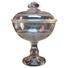 Acorn Finial Beaded Panel Pattern Glass Covered Compote