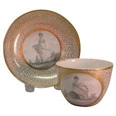 English Cup and Saucer with  Figures ca. 1815