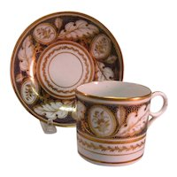 New Hall Coffee Can and Saucer ca. 1810
