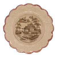 Child's Plate with Transfer and Luster ca. 1835