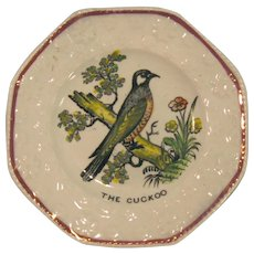 "Child's Plate with Transfer ""Cuckoo"" ca. 1840"