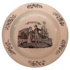 "Herculaneum Creamware Plate ""Jack Tar"" ca. 1810 - 20"