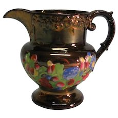 Copper Luster Pitcher with Floral Relief ca. 1840