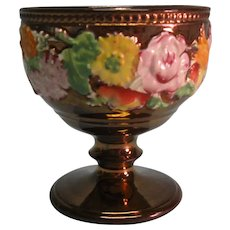 Copper Luster Vase with Bright Floral Relief ca. 1835