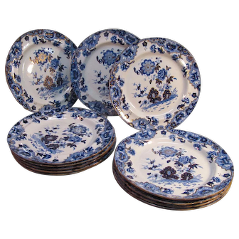 "Set of 12 Spode ""New Stone"" Plates ca. 1825"