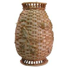 Royal Worcester Aesthetic Basket Weave Vase ca. 1870