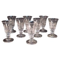 Set of 8 Anglo/Irish Cut Clarets or Jelly Glasses