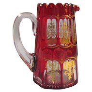 Cranberry Glass Pitcher with Cut and Gilt Designs