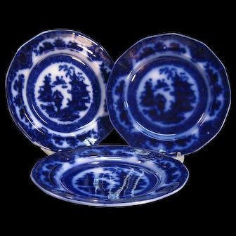 "Three Temple Flow Blue 8 5/8"" Plates ca. 1850's"