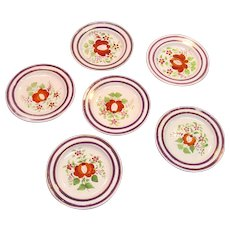 "Set Six ""Queen's Rose"" Plates ca. 1825"