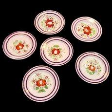 "Set Six ""Queen's Rose"" Plates ca. 1825"