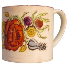 Child's or Toy Mug with Floral Transfer ca. 1825